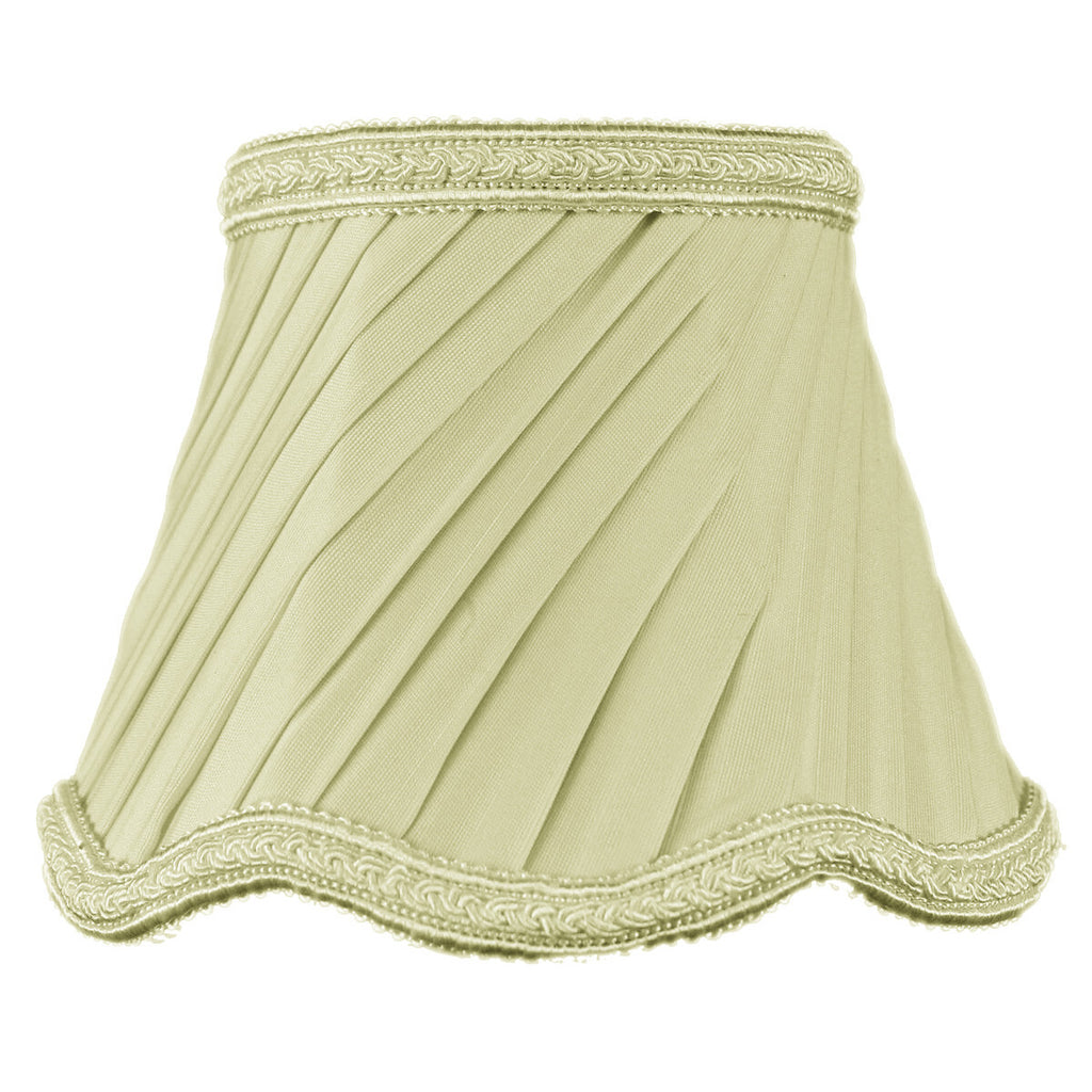0-000973>3x5x4 Crisp Linen Pleated Twist Clip-on Candelabra Lampshade