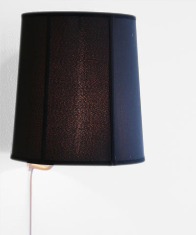Floating Shade Plug-In Wall Light Black Fabric with Gold Liner 12x14x15