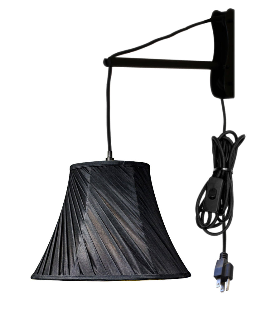 0-001744>MAST Plug-In Wall Mount Pendant, 1 Light Black Cord/Arm, Black Shade 08x16x12