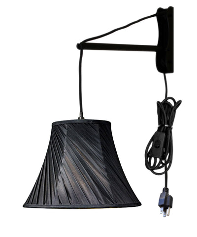 MAST Plug-In Wall Mount Pendant, 1 Light Black Cord/Arm, Black Shade 08x16x12