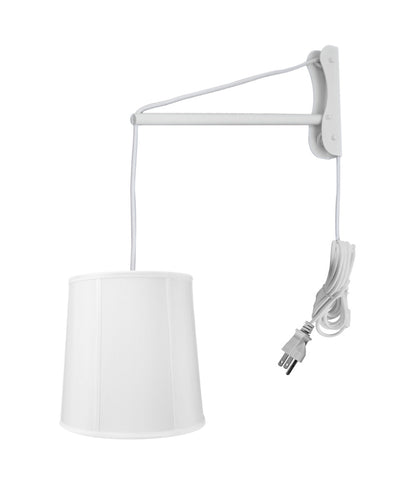 MAST Plug-In Wall Mount Pendant, 1 Light White Cord/Arm, White Shade 10x12x12