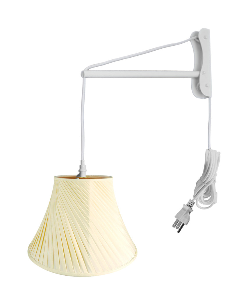 0-002373>MAST Plug-In Wall Mount Pendant, 1 Light White Cord/Arm, Eggshell Shade 08x16x12