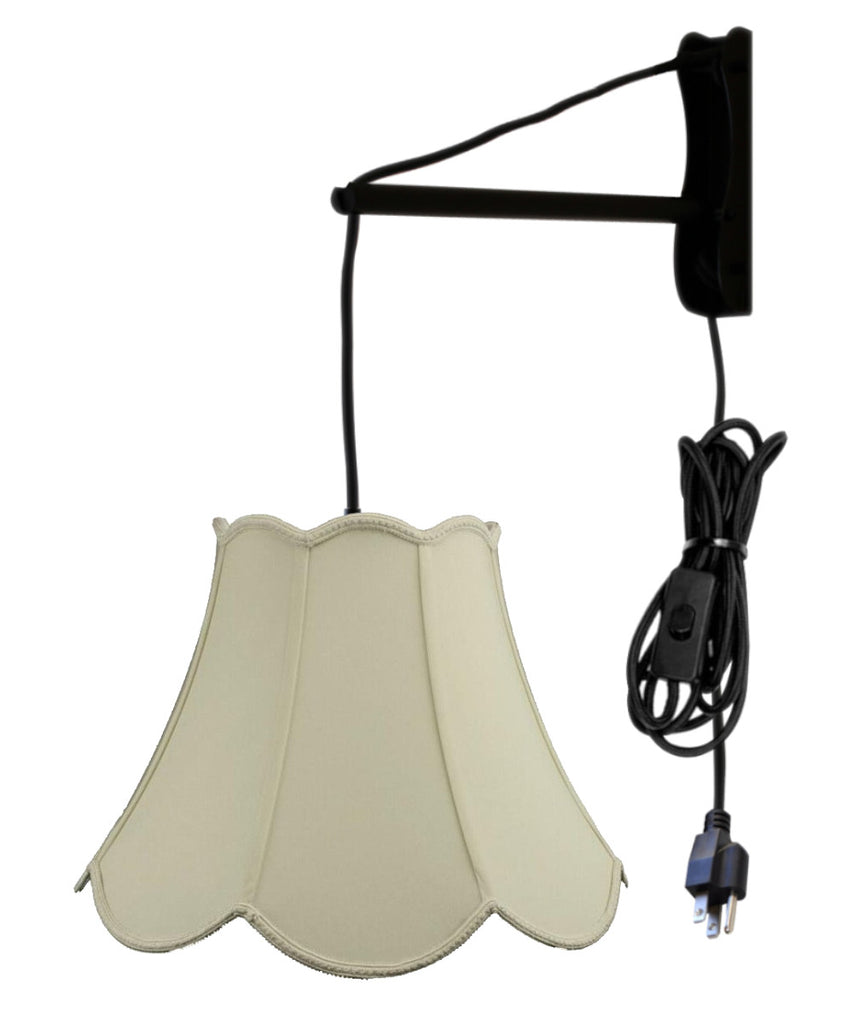 0-001846>MAST Plug-In Wall Mount Pendant, 1 Light Black Cord/Arm, Eggshell Shade 09x18x13