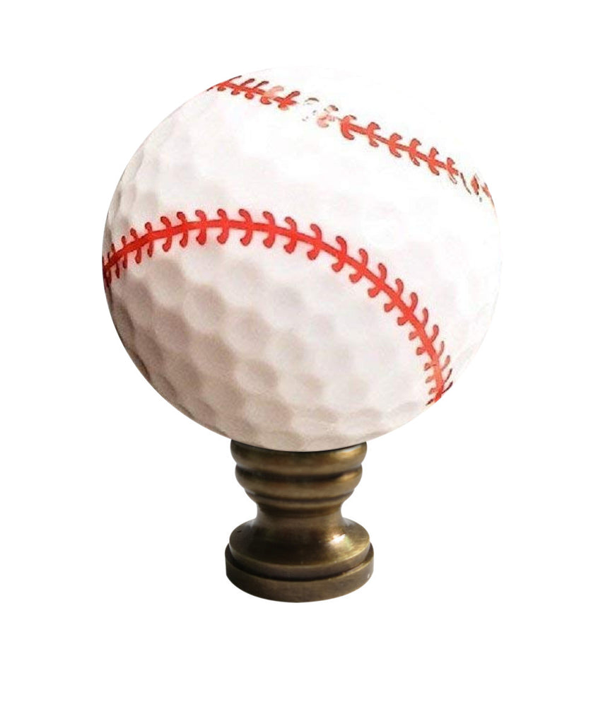 "Baseball Lamp Finial, White with Red Stitching 2.25""h"