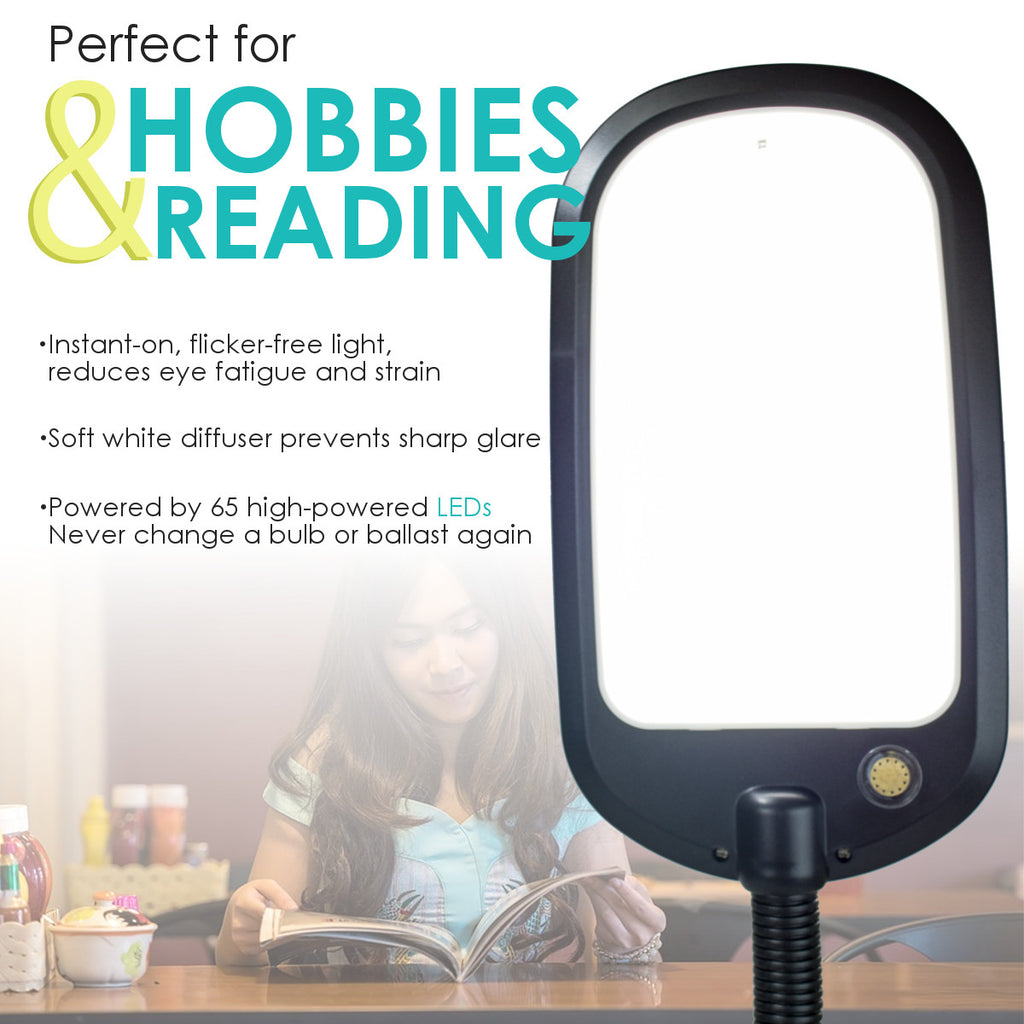 0-000025>LED Bright Reader Natural Daylight Full Spectrum Desk Lamp Black