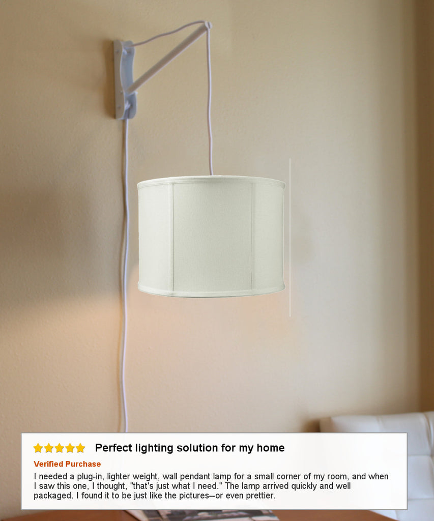 0-001540>MAST Plug-In Wall Mount Pendant, 2 Light White Cord/Arm with Diffuser, Light Oatmeal Drum Shade 14x14x10