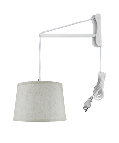 MAST Plug-In Wall Mount Pendant, 1 Light White Cord/Arm, Textured Shallow Drum Shade 10x12x08
