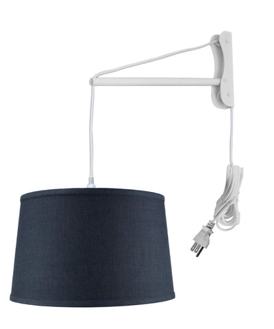 MAST Plug-In Wall Mount Pendant, 1 Light White Cord/Arm, Shallow Drum Textured Slate Blue 14x16x10