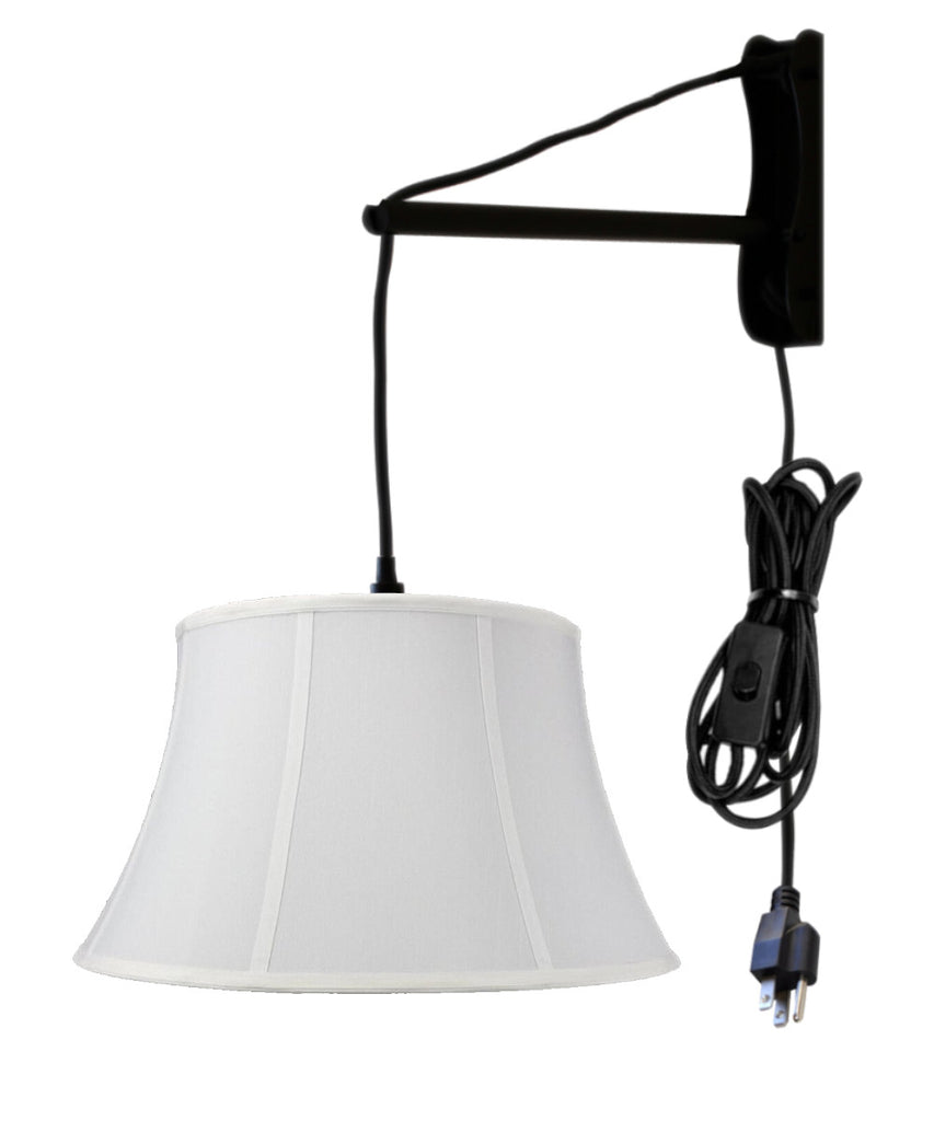MAST Plug-In Wall Mount Pendant, 1 Light Black Cord/Arm, White Shade 13x19x11