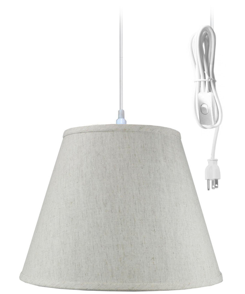 0-002039>1 Light Swag Plug-In Pendant Hanging LampTextured Oatmeal