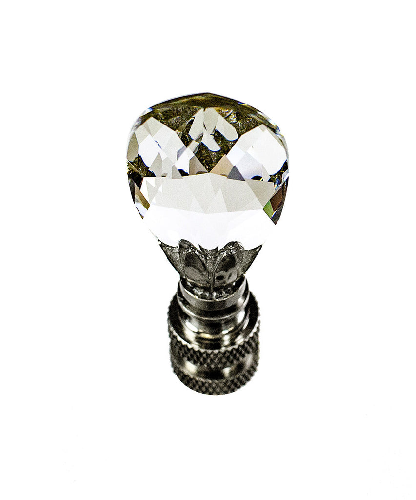 "0-005802>Stephanov Crystal Small Teardrop Nickel Base Lamp Finial 2.5""h"