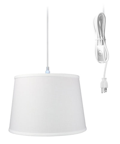0-000452>1-Light Plug In Swag Pendant Ceiling Light White Shade