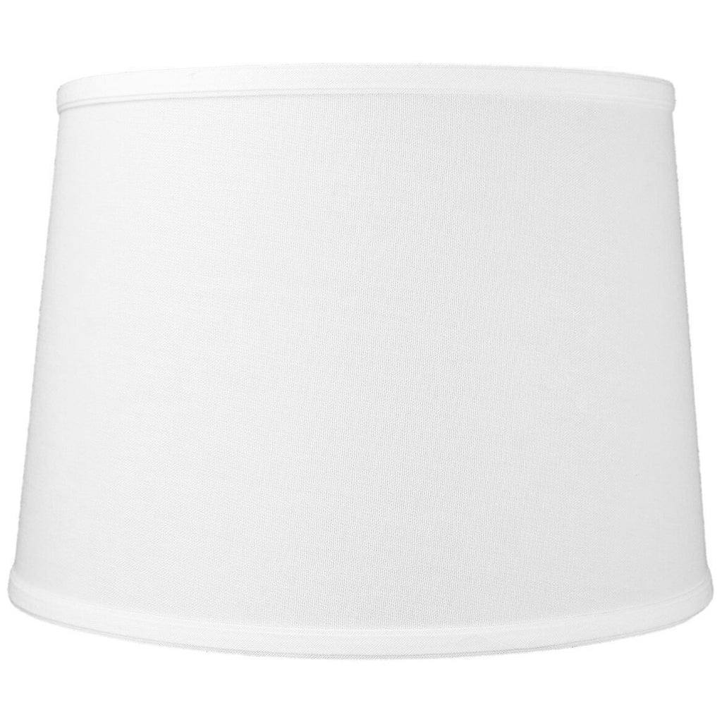 0-000378>12x14x10 White Linen Drum Lampshade
