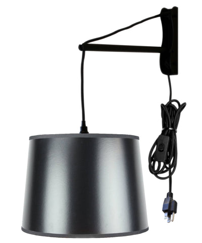 MAST Plug-In Wall Mount Pendant, 1 Light Black Cord/Arm, Black/Gold Shade 12x14x10