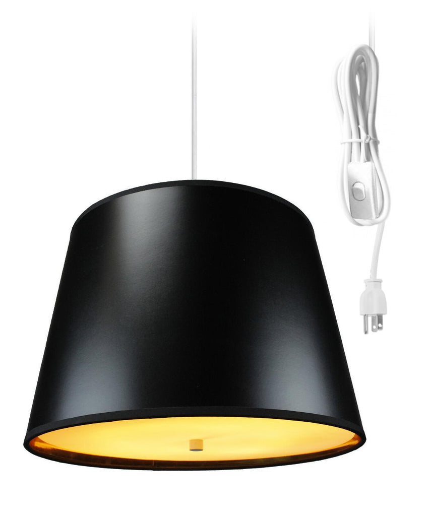 0-002070>Black Gold-Lined  2 Light Swag Plug-In Pendant with Diffusershade -