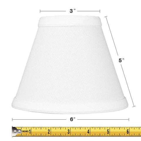 0-000450>3x6x5 Chandelier White Linen Clip-On Lampshade
