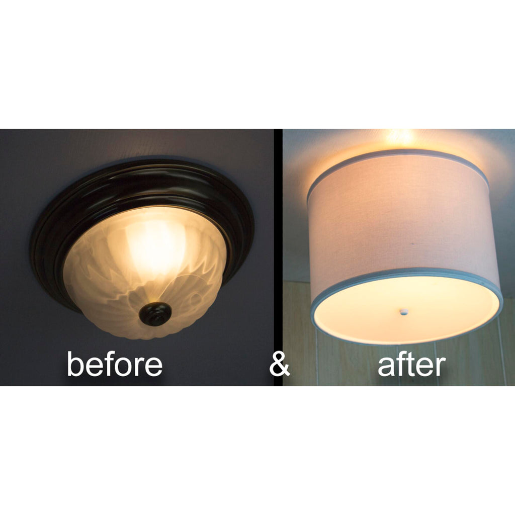 "0-002112>14"" Moderne Flush Mount Conversion Kit - DIY Convert your dated Glass Ceiling Light to a Modern White Fabric Drum Lamp Shade with Diffuser by Home Concept 14""x14""x10"""