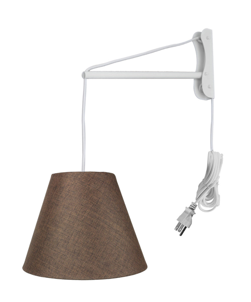 0-002305>MAST Plug-In Wall Mount Pendant, 1 Light White Cord/Arm, Chocolate Burlap Shade 06x12x09