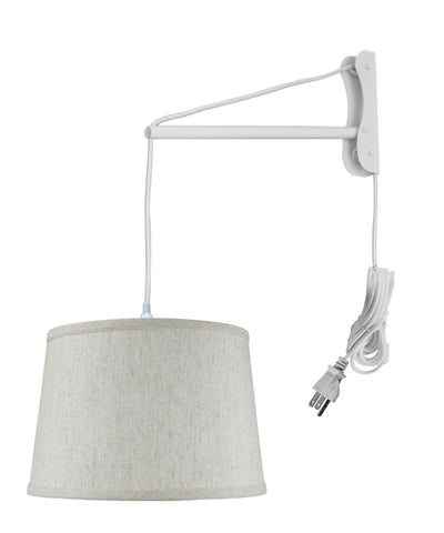 MAST Plug-In Wall Mount Pendant, 1 Light White Cord/Arm, Shallow Drum Textured Oatmeal 14x16x10