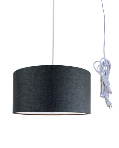 0-002068>Granite Grey 2 Light Swag Plug-In Pendant with Diffuser