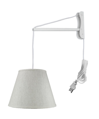 MAST Plug-In Wall Mount Pendant, 1 Light White Cord/Arm, Textured Oatmeal Shade 09x16x12