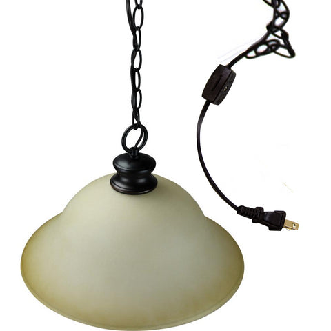 0-000027>Plug In Swag Amber Glass Pendant Light, Bronze Finish