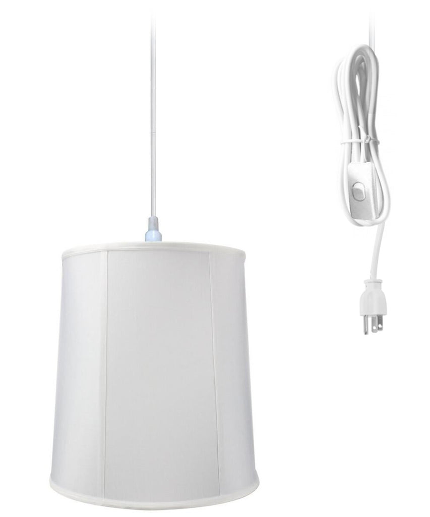 0-001363>1-Light Plug In Swag Pendant Ceiling Light White Shade