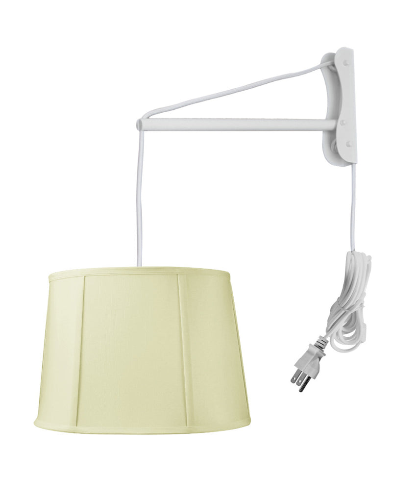 0-002526>MAST Plug-In Wall Mount Pendant, 1 Light White Cord/Arm, Drum Egg Shell Shantung Shade 10x12x08