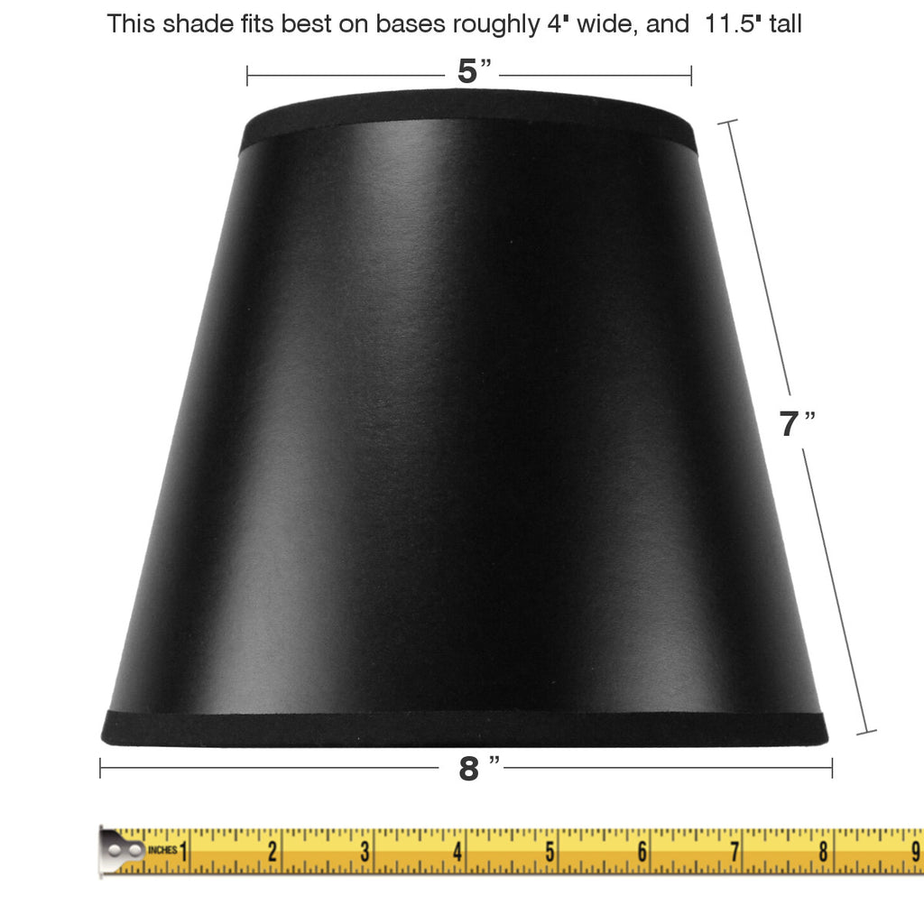 0-000093>5x8x7 Black CLIP ON Empire Hard Back Lampshade with Gold Lining