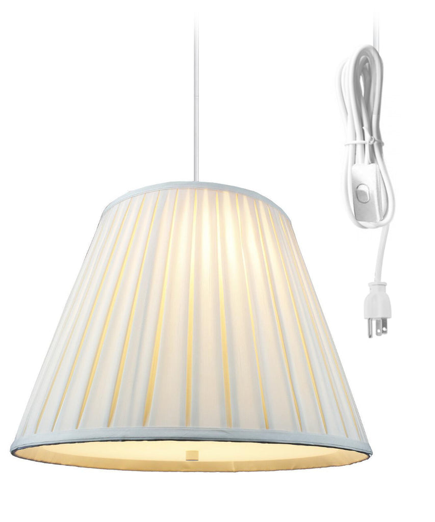 Empire Box Pleat Egg Shell 2 Light Swag Plug-In Pendant with Diffuser 11x18x13