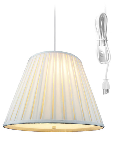 0-002060>Empire Box Pleat Egg Shell 2 Light Swag Plug-In Pendant with Diffuser 11x18x13