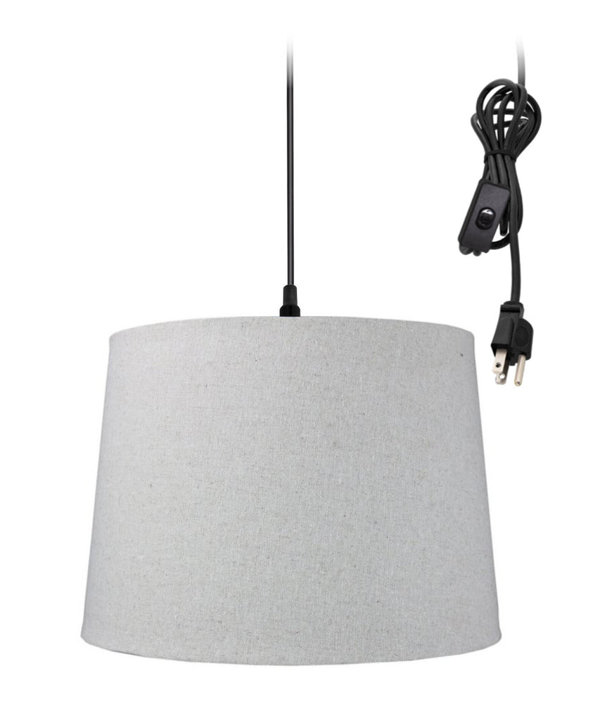0-002000>1-Light Plug In Swag Pendant Ceiling Light Sand Linen Shade