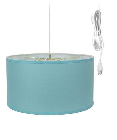 0-000776>1-Light Plug In Swag Pendant Ceiling Light Island Paradise Blue Shade