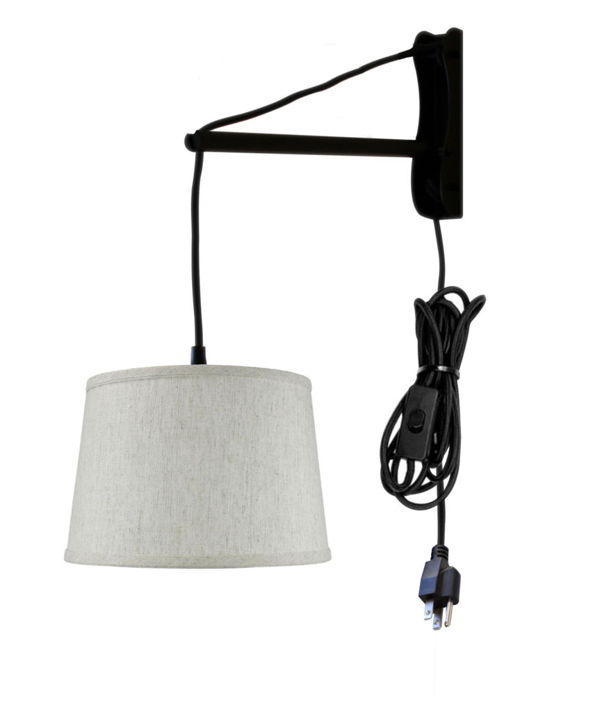 MAST Plug-In Wall Mount Pendant, 1 Light Black Cord/Arm, Shallow Drum Textured Oatmeal Shade 10x12x8
