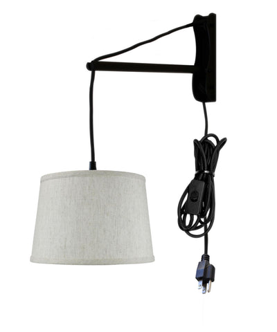 0-001897>MAST Plug-In Wall Mount Pendant, 1 Light Black Cord/Arm, Shallow Drum Textured Oatmeal Shade 10x12x8