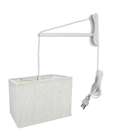 MAST Plug-In Wall Mount Pendant, 1 Light White Cord/Arm, Rectangular Textured Oatmeal Shade (6.5x12) (6.5x12) x 9