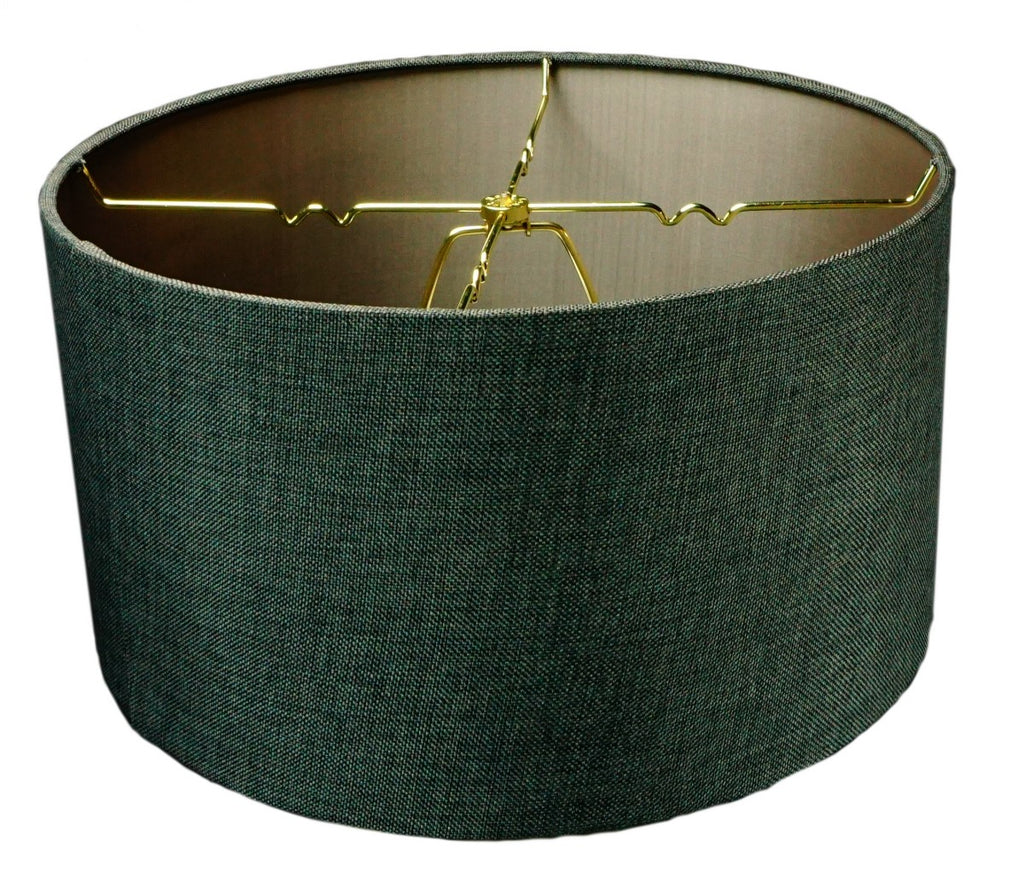 "0-000421>Granite Grey Burlap Hardback Drum Lampshade 14""x14""x7"""