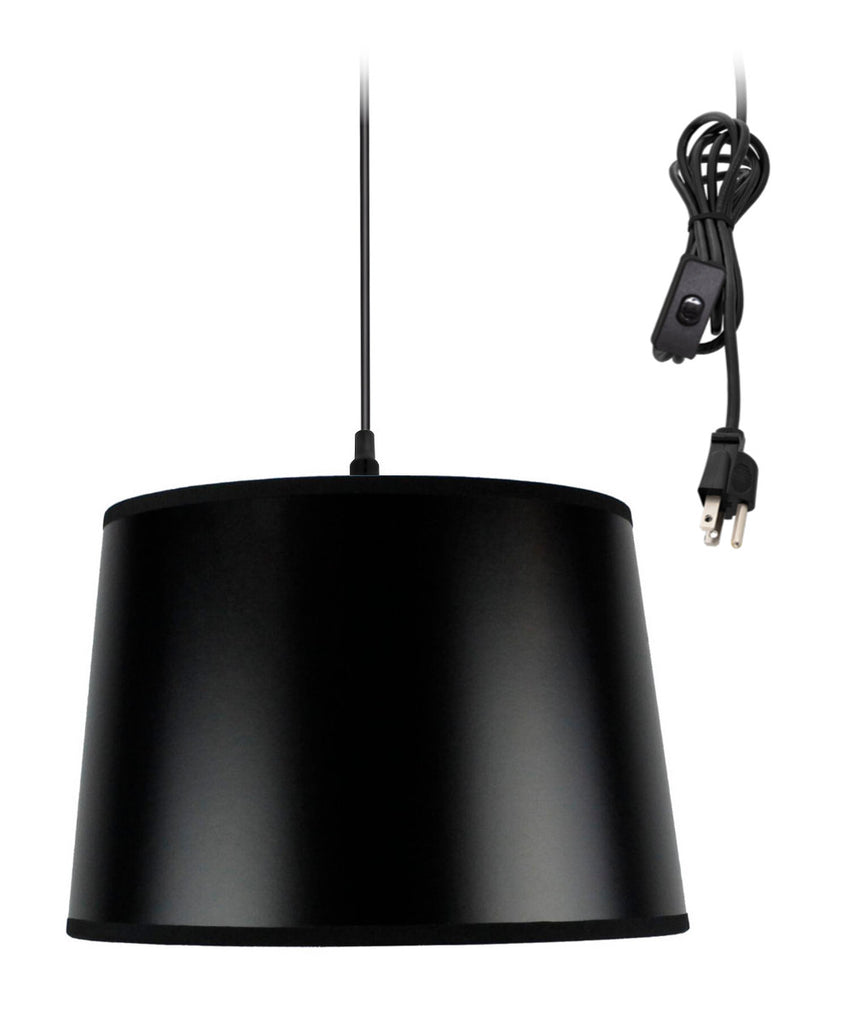 0-002000>Shallow Drum 1 Light Swag Plug-In Pendant Hanging Lamp 10x12x8 Black