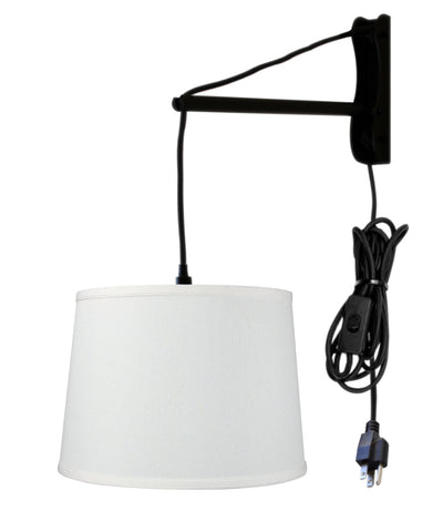 0-002033>MAST Plug-In Wall Mount Pendant, 1 Light Black Cord/Arm, Light Oatmeal Shade 12x14x10