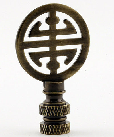 "0-003164>Classic 4 Blessings Asian Lamp Finial Antique Brass Metal 2.25""h"