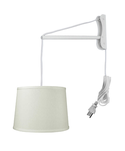 0-001268>MAST Plug-In Wall Mount Pendant, 2 Light White Cord/Arm with Diffuser, Light Oatmeal  Shade 12x14x10