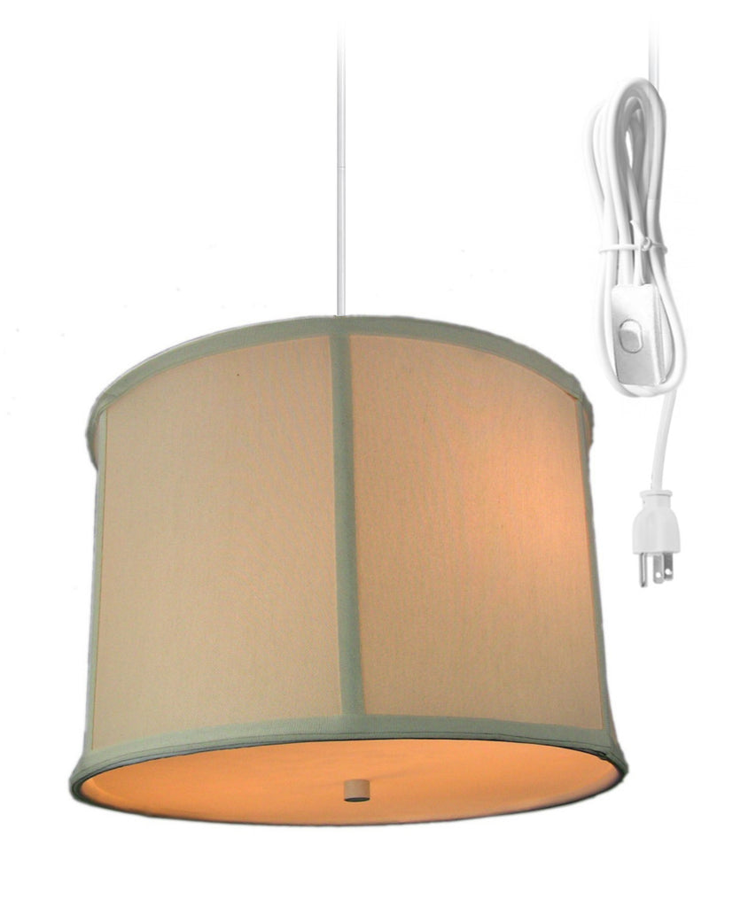 0-002078>2 Light Swag Plug-In Pendant with Diffuser - Light Oatmeal Drum