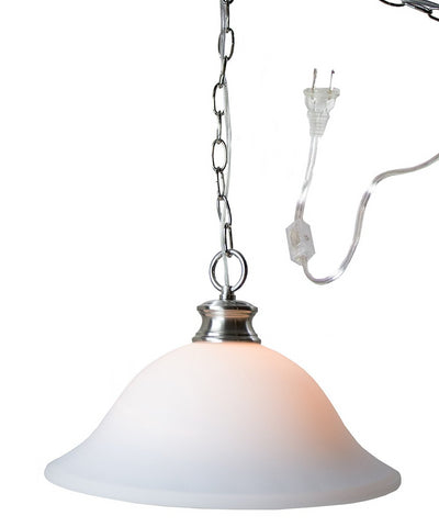 0-000091>Plug In Swag Milky White Glass Pendant Light, Polished Nickel Finish