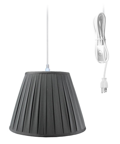 0-024400>1-Light Plug In Swag Pendant Lamp Black Shade