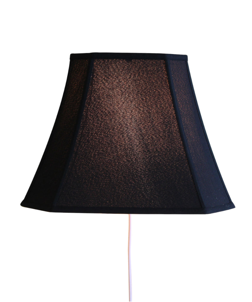 Floating Shade Plug-In Wall Light Black Fabric/Gold Liner 9x16x12