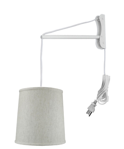 MAST Plug-In Wall Mount Pendant, 1 Light White Cord/Arm, Textured Oatmeal Linen Shade 10x12x12