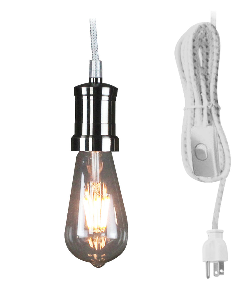 0-000126>1 Light Brushed Nickel 17' White/Grey Plug In Swag Pendant by Home Concept