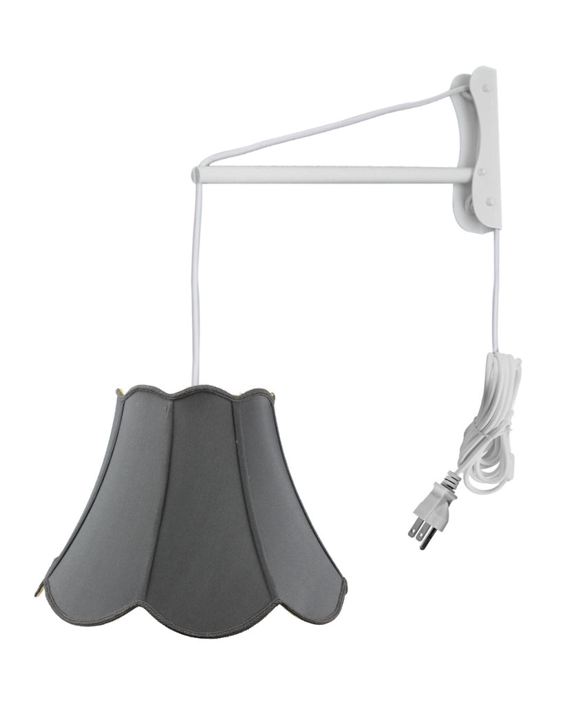 0-002475>MAST Plug-In Wall Mount Pendant, 1 Light White Cord/Arm, Black Shade 09x18x13