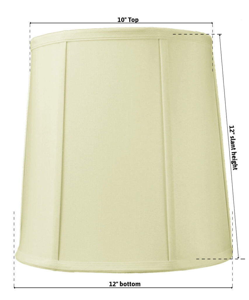 0-000908>10x12x12 SLIP UNO FITTER Egg Shell Shantung Drum Lampshade