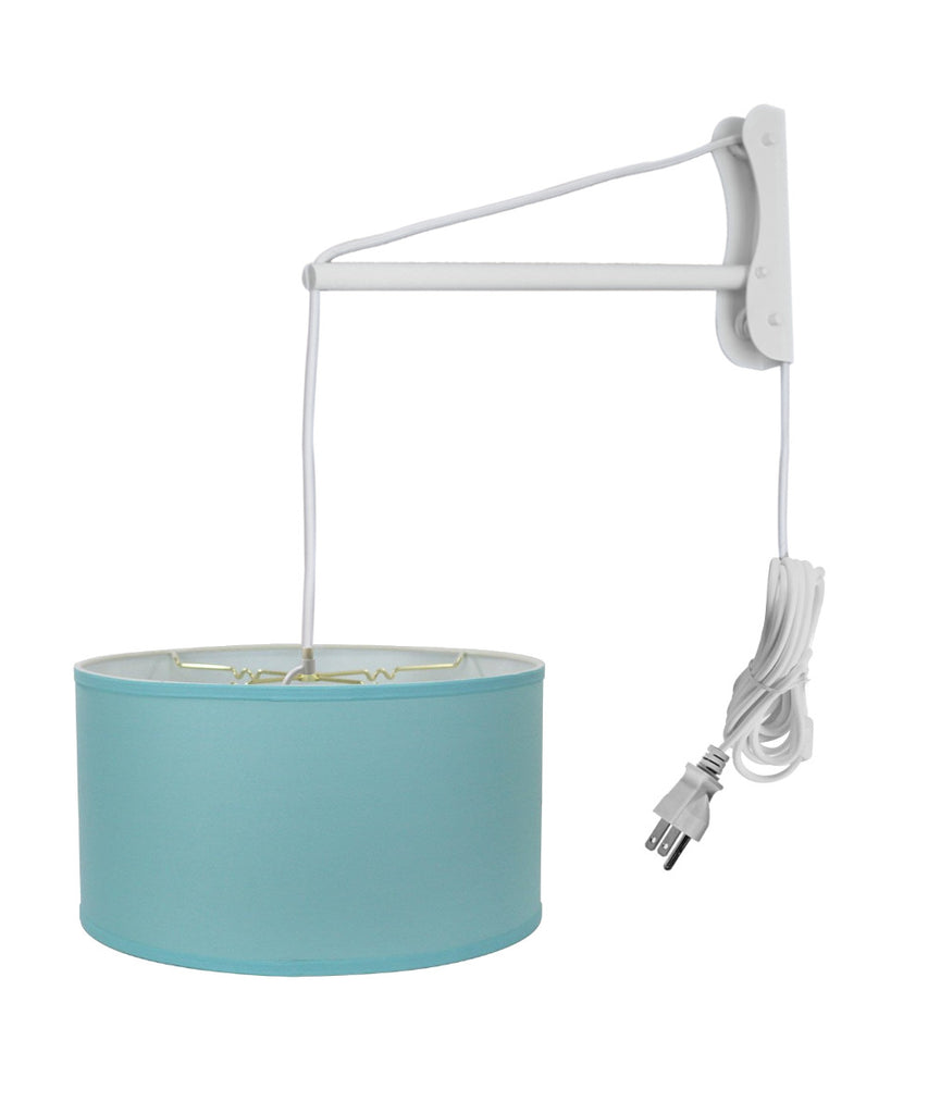 MAST Plug-In Wall Mount Pendant, 2 Light White Cord/Arm with Diffuser, Island Paridise Blue Shade 18x18x10